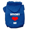 Mirage Pet Products Bitches Love Me Screen Print Pet Hoodies Blue Size Sm (10)