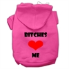 Mirage Pet Products Bitches Love Me Screen Print Pet Hoodies Bright Pink Size Sm (10)