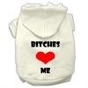 Mirage Pet Products Bitches Love Me Screen Print Pet Hoodies Cream Size XS (8)