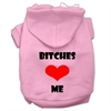 Mirage Pet Products Bitches Love Me Screen Print Pet Hoodies Light Pink Size Sm (10)
