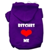 Mirage Pet Products Bitches Love Me Screen Print Pet Hoodies Purple Size Sm (10)