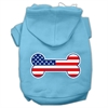 Mirage Pet Products Bone Shaped American Flag Screen Print Pet Hoodies Baby Blue XXXL(20)