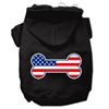Mirage Pet Products Bone Shaped American Flag Screen Print Pet Hoodies Black Size XXL (18)