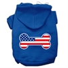 Mirage Pet Products Bone Shaped American Flag Screen Print Pet Hoodies Blue Size Sm (10)