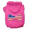 Mirage Pet Products Bone Shaped American Flag Screen Print Pet Hoodies Bright Pink Size S (10)