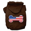 Mirage Pet Products Bone Shaped American Flag Screen Print Pet Hoodies Brown Size XXXL(20)