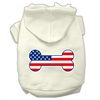 Mirage Pet Products Bone Shaped American Flag Screen Print Pet Hoodies Cream Size XXXL(20)