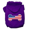 Mirage Pet Products Bone Shaped American Flag Screen Print Pet Hoodies Purple Size XXXL(20)