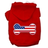 Mirage Pet Products Bone Shaped American Flag Screen Print Pet Hoodies Red Size Sm (10)