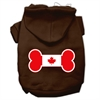 Mirage Pet Products Bone Shaped Canadian Flag Screen Print Pet Hoodies Brown Size Sm (10)