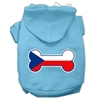 Mirage Pet Products Bone Shaped Czech Republic Flag Screen Print Pet Hoodies Baby Blue XXXL(20)