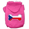 Mirage Pet Products Bone Shaped Czech Republic Flag Screen Print Pet Hoodies Bright Pink Size XS (8)