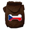 Mirage Pet Products Bone Shaped Czech Republic Flag Screen Print Pet Hoodies Brown Size S (10)