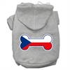 Mirage Pet Products Bone Shaped Czech Republic Flag Screen Print Pet Hoodies Grey XXXL(20)