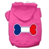 Mirage Pet Products Bone Shaped France Flag Screen Print Pet Hoodies Bright Pink Size XS (8)