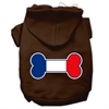 Mirage Pet Products Bone Shaped France Flag Screen Print Pet Hoodies Brown Size L (14)