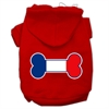 Mirage Pet Products Bone Shaped France Flag Screen Print Pet Hoodies Red Size M (12)