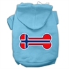 Mirage Pet Products Bone Shaped Norway Flag Screen Print Pet Hoodies Baby Blue XXXL(20)