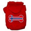 Mirage Pet Products Bone Shaped Norway Flag Screen Print Pet Hoodies Red Size S (10)