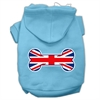 Mirage Pet Products Bone Shaped United Kingdom (Union Jack) Flag Screen Print Pet Hoodies Baby Blue Size Sm (10)