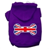 Mirage Pet Products Bone Shaped United Kingdom (Union Jack) Flag Screen Print Pet Hoodies Purple Size S (10)