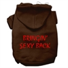 Mirage Pet Products Bringin' Sexy Back Screen Print Pet Hoodies Brown Size XS (8)