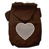 Mirage Pet Products Chevron Heart Screen Print Dog Pet Hoodies Brown Size Sm (10)