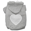 Mirage Pet Products Chevron Heart Screen Print Dog Pet Hoodies Grey Size XXXL (20)
