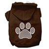 Mirage Pet Products Chevron Paw Screen Print Pet Hoodies Brown Size Sm (10)