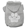 Mirage Pet Products Chevron Paw Screen Print Pet Hoodies Grey Size XL (16)