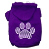 Mirage Pet Products Chevron Paw Screen Print Pet Hoodies Purple Size Lg (14)