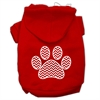 Mirage Pet Products Chevron Paw Screen Print Pet Hoodies Red Size Med (12)