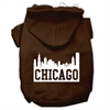 Mirage Pet Products Chicago Skyline Screen Print Pet Hoodies Brown Size Sm (10)
