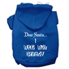 Mirage Pet Products Dear Santa I Went with Naughty Screen Print Pet Hoodies Blue Size Sm (10)