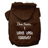 Mirage Pet Products Dear Santa I Went with Naughty Screen Print Pet Hoodies Brown Size Sm (10)