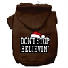 Mirage Pet Products Don't Stop Believin' Screenprint Pet Hoodies Brown Size S (10)