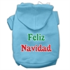 Mirage Pet Products Feliz Navidad Screen Print Pet Hoodies Baby Blue XXXL(20)