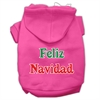 Mirage Pet Products Feliz Navidad Screen Print Pet Hoodies Bright Pink XXXL(20)