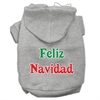 Mirage Pet Products Feliz Navidad Screen Print Pet Hoodies Grey XXXL(20)