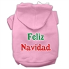 Mirage Pet Products Feliz Navidad Screen Print Pet Hoodies Light Pink XXXL(20)