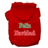 Mirage Pet Products Feliz Navidad Screen Print Pet Hoodies Red Size XS (8)