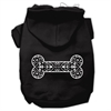 Mirage Pet Products Henna Bone Screen Print Pet Hoodies Black Size XS (8)