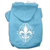 Mirage Pet Products Henna Fleur De Lis Screen Print Pet Hoodies Baby Blue Size Sm (10)