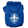 Mirage Pet Products Henna Fleur de Lis Screen Print Pet Hoodies Blue Size Sm (10)