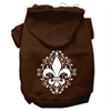 Mirage Pet Products Henna Fleur de Lis Screen Print Pet Hoodies Brown Size Sm (10)