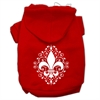 Mirage Pet Products Henna Fleur De Lis Screen Print Pet Hoodies Red Size Med (12)