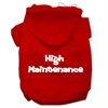 Mirage Pet Products High Maintenance Screen Print Pet Hoodies Red Size S (10)