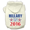 Mirage Pet Products Hillary in 2016 Election Screenprint Pet Hoodies Cream Size L (14)