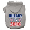 Mirage Pet Products Hillary in 2016 Election Screenprint Pet Hoodies Grey Size XXXL(20)
