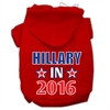 Mirage Pet Products Hillary in 2016 Election Screenprint Pet Hoodies Red Size S (10)